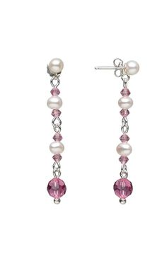 Earrings with Saltwater Pearl Beads and Swarovski® Crystal Beads