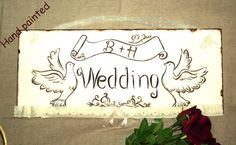 Shabby Chic Wedding Sign-Wedding-pigeons with ribbon-lace ornement Chic Wedding, Wedding Signs, Art World, Small Businesses, Freedom, Shabby Chic, Ribbon, Invitations, Gowns