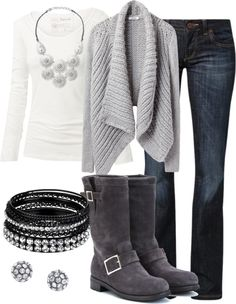 gray sweater and boots winter
