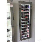 nail polish display frame rack space saving style with LED lighting