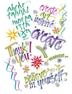 SUPPLIES needed for creative lettering: Zig *Brushables Markers (my favorite!), Zig *Scroll & Brush Markers. Zig also has *Writers in coordinating colors (optional) that can be used for outlining & embellishing. Marvy Le Plume ll or Tombo Markers Suggested; colors for markers: green (Spring Green orKiwi) , blue, yellow, red or pink, & a light grey for shadowing (Zig- Brushable --Platinum). There are LOTS of colors available! Supplies cont... in comments...