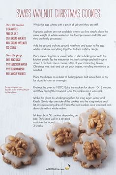 Swiss Walnut Christmas Cookies. Recipe by Betty Bossi