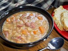This old fashioned recipe for ham and bean soup is full of flavor. It is easy to make and can be made on the stovetop or in a slow cooker.