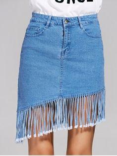 Chic High-Waisted Fringed Women's Denim Skirt