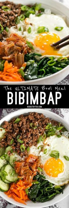 Bibimbap is the ultimate bowl meal with plenty of color, flavor, and texture to keep your taste buds happy and your stomach full. BudgetBytes.com Asian Recipes, Beef Recipes, Cooking Recipes, Healthy Recipes, Delicious Recipes, Vegetarian Recipes, Kabob Recipes, Korean Recipes, Vegetarian Food