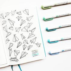 Paper planes #moodtracker. Awesome idea for your #bulletjournal !