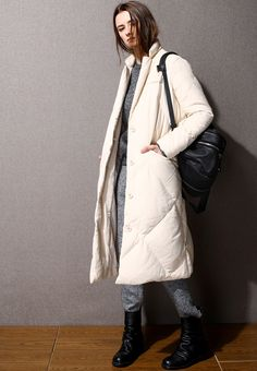 Blazer Collar Cream Down Jacket OU0540