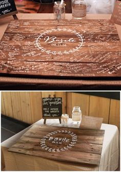 Wedding Guest Book - then seal it with resin and make it a coffee table!