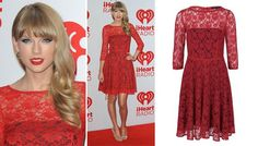 Taylor swift sizzles in this hot red French Connection lace dress!