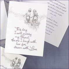 "This day I will marry my friend wedding invitations A sketch of two children, hand in hand, is featured above the verse ""This day I will marry my friend…"" printed in purple foil on this bright white, folding invitation. Your verse inside may be printed in the ink color of your choice."