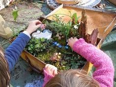 Make a fairy garden for a new type of sensory play! (love that this is in an old suitcase...I have a few laying around)