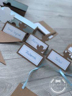 Dekoracje na Chrzest synka! - SanderSon Place Cards, Place Card Holders, Handmade, Hand Made, Handarbeit