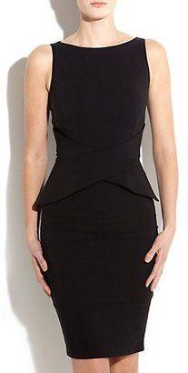 ShopStyle: Vesper Penny Black Peplum Slash Neck Dress
