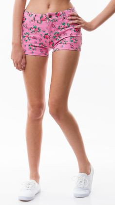 Floral Shorts/Coral by Poplooks, Hot Pink Color