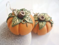CLEARANCE / DESTASH Pumpkin Earrings - Pale Orange - Halloween / Harvest special. $12.00, via Etsy.