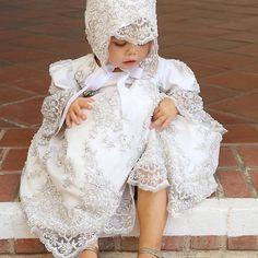 Christening Lace Dress - Lacroix – Elena Collection Toddler Baptism Dresses, Girls Baptism Dress, Baby Girl Baptism, Baptism Gown, Christening Gowns, Baby Girl Dresses, Toddler Dress, Flower Girl Dresses, Couture