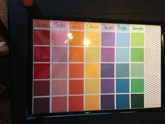 Made a calendar utilizing paint swatches from the local hardware store. Finally a calendar that will never expire! Awesome addition to my teenagers room!