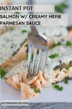 You can use the instant pot to achieve beautifully cooked salmon for a quick and elegant meal. And top it with a creamy herb parmesan sauce to make it perfect! Baked Salmon Recipes, Fish Recipes, Seafood Recipes, Instant Pot Pressure Cooker, Pressure Cooker Recipes, Pressure Cooking, Crockpot Recipes, Cooking Recipes, Recipes