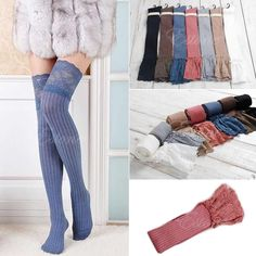 Women Knitting Lace Cotton Over Knee Thigh Stockings High Socks Pantyhose Tights #Unbranded #Casual