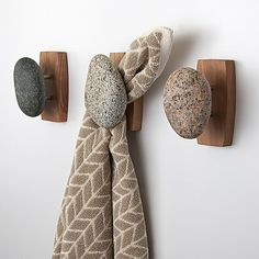 Sea Stones Coast Hook - Coat Hook - Hand Selected Natural Stone Wall Hook with Elegant Wooden Backplate - Hang Your Coats Towels Robes & More with Both Indoors & Outdoor Uses 3 Pack Cherry