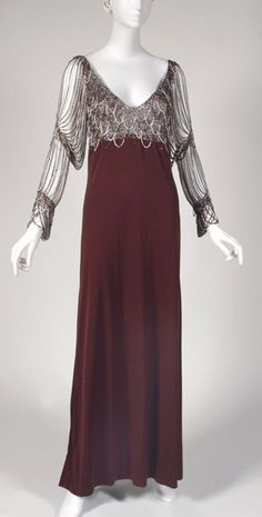 1b2a2b72d8df Evening dress, Loris Azzaro, 1970's. 1900s Fashion, Timeless Fashion, Retro  Fashion