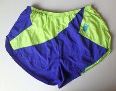 VTG Men's Nike Running Shorts Size Large L 1980s Hi Cut Neon Yellow & Blue Track #Nike #Shorts