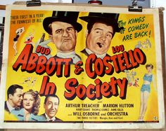Abbott & Costello In Society - half sheet - 1944  See it at www.cvtreasures.com , Conway's Vintage Treasures