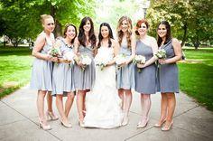 Mismatched grey bridesmaid dresses