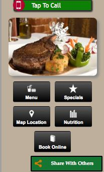 Gourmet Restaurant mobile website design. Design your mobile website with good visibility in mind. Use good contrasts and font sizes that is large enough to make it easy to read for a person that maybe looking at the site while walking for example. Also avoid large blocks of text as its harder for a person to read especially if they're on the move.