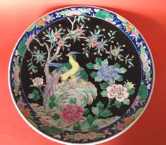 Pierced On Reverse For Hanging. Made in Japan. To Canada Australia And Japan. Golden Pheasant, Bird Art, Large Black, Black Backgrounds, Bright Colors, Stoneware, Decorative Plates, Charger, Japan
