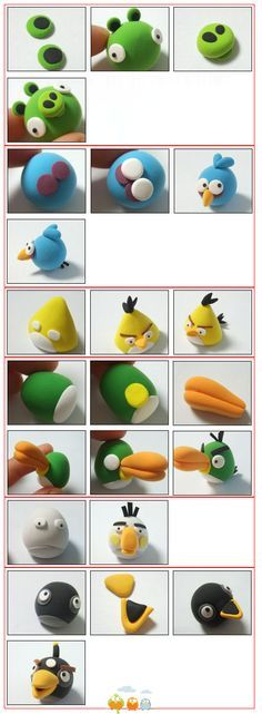 angry birds, I want to make these with polymer clay.