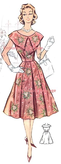 Plus Size (or any size) Vintage 1950s Dress Pattern - PDF - Pattern No 26: Carolyn. $10.20, via Etsy.