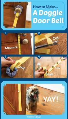 If you're not paying attention, or are in another room, you might not realize your dog needs to go outside. A doggy doorbell lets your dog signal his need loud and clear. Though you could just tie a . Dog Training Bells, Dog Training Tips, Dog Door Bell, Puppy Room, Pet Dogs, Pets, Doggies, Dog Potty, Dog Crafts