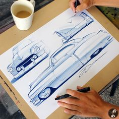Custom 1950 Cadillac Pencil Sketches with coffee