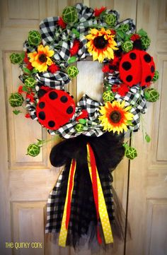 Lady Bug Wreath by TheQuirkyCork on Etsy, $159.00