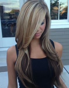 my summer Hair Color - Balayage blonde highlights Love Hair, Great Hair, Gorgeous Hair, Amazing Hair, Beautiful Beautiful, Long Layered Haircuts, Haircuts With Bangs, Layered Hairstyles, Straight Hairstyles