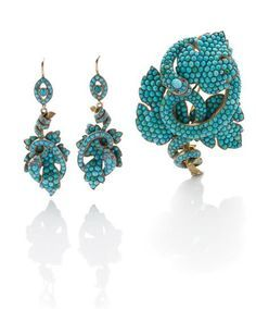 Christie's A SUITE OF ANTIQUE TURQUOISE, DIAMOND AND PEARL JEWELLERY. Comprising a pendant brooch, designed as a cabochon turquoise shield-shaped plaque suspending rose-cut diamond and pearl drops to the rose and old mine-cut diamond scrolled surmount, mounted in 18k rose gold; and a pair of ear pendants en suite, circa 1880 - Google Search