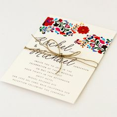 Perfect for your destination fiesta, this beautifully embellished invitation was inspired by colorful Mexicanembroidery.