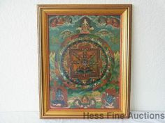 Antique Tibetan Buddhists Thangka Buddha Mandala Mystical Painting on Silk