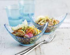 Gemüse-Taboulé mit gebratenen Pouletstreifen - Rezeptdatenbank - Swissmilk
