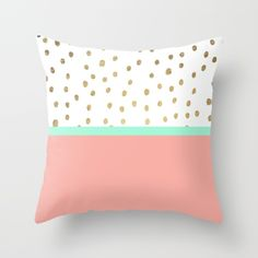 Coral teal color block faux gold foil polka dots pattern  Throw Pillow