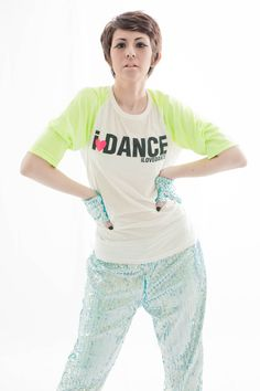 Neon Blink 2013 Collection   I❤DANCE White Neon Raglant Top  Blink Training Pants