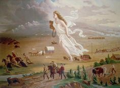 """Westward Expansion and """"manifest destiny"""": American Progress by John Gast American War, American History, Early American, European American, American Children, American Literature, Shocking Quotes, History Lesson Plans, American Exceptionalism"""
