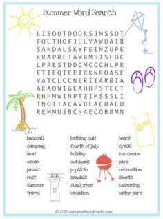 Summer Word Search for Kids Printable Treats