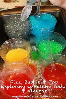 Mom to 2 Posh Lil Divas: Fizz, Bubble & Pop! Experimenting with Vinegar + Baking Soda