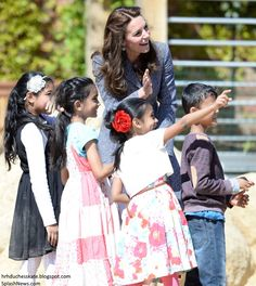 hrhduchesskate:  Opening of Magic Gardens playground, Hampton Court Palace, May 4, 2016-The Duchess of Cambridge with children at the playground