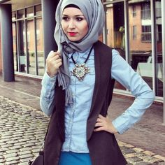 Nabiilabee Light Jean Button Up with vest, chunky necklace, and grey hijab  www.nabiila-bee.blogspot.co.uk