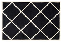 One Kings Lane - The Look for Less - Rue Rug with Border, Black