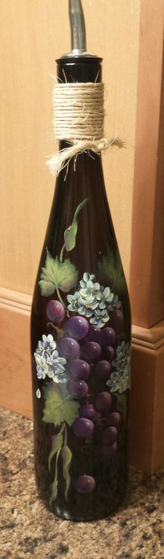 Painted Wine Bottle by JCandmeArt on Etsy