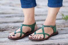 Sandals Summer SALE 20 Off Green Leather Sandals Green Sandals by BangiShop - There is nothing more comfortable and cool to wear on your feet during the heat season than some flat sandals.